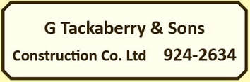 G Tackaberry & Sons Construction Co. Ltd    613-924-2634